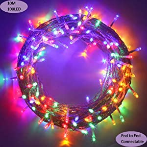 MYGOTO Outdoor Christmas led String Lights 100 LEDs 10M/33FT Dimmable String Fairy Lights Transparent String 8 Modes for Bedroom Patio Garden Gate Yard Party Wedding Decoration Extendable (Multicolor)