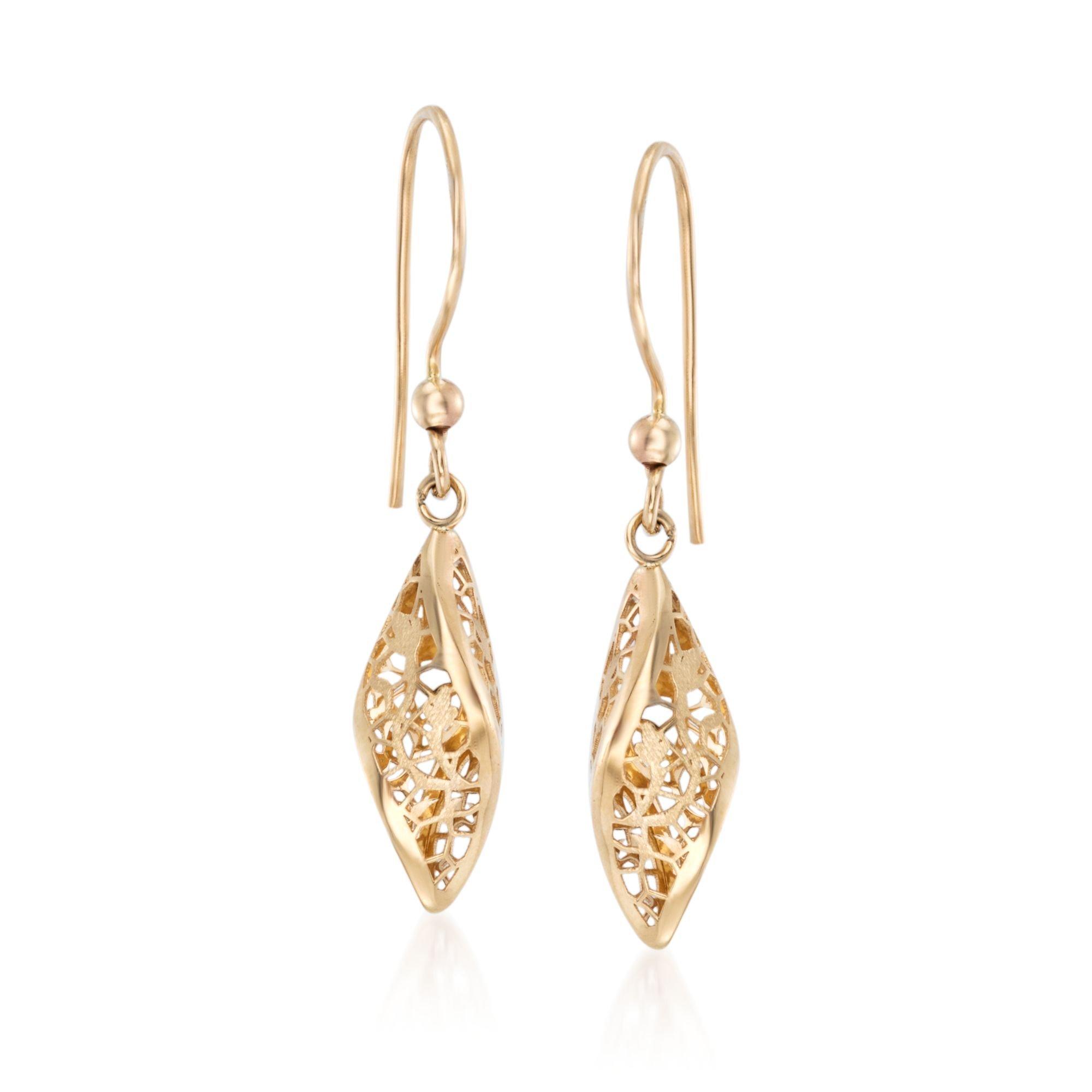 Ross-Simons Italian 14kt Yellow Gold Twisted Lace Drop Earrings