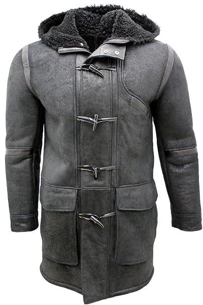 Chaqueta de piel de oveja negra con capucha: Amazon.es: Ropa y accesorios