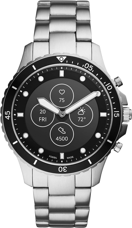 Fossil FB-01 HR- Hybrid Smartwatch Schwarzes Zifferblatt mit silberfarbenem Edelstahlarmband für Herren - FTW7016: Amazon.de: Uhren - Fossil Hybrid Smartwatch