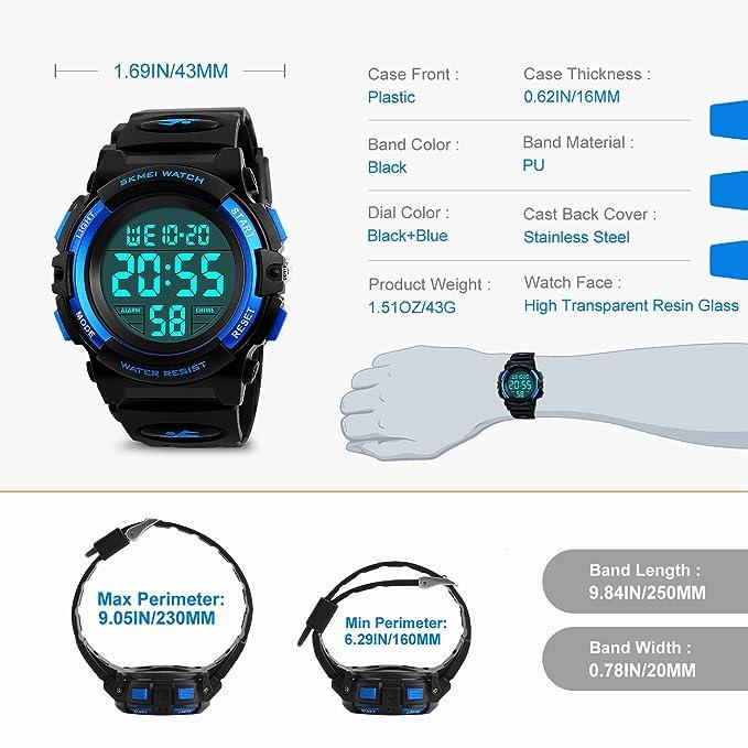 Jungen Digitaluhren, Kinder Sport 5 ATM wasserdicht Digital Uhren mit Alarm/Timer/El Licht, Blau Kinderuhren Outdoor Armbanduhr für Jugendliche Jungen von ...