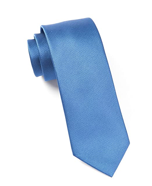 d2a509cc398e Image Unavailable. Image not available for. Color: The Tie Bar 100% Woven  Silk Grosgrain Solid Classic Blue 2 Inch Tie