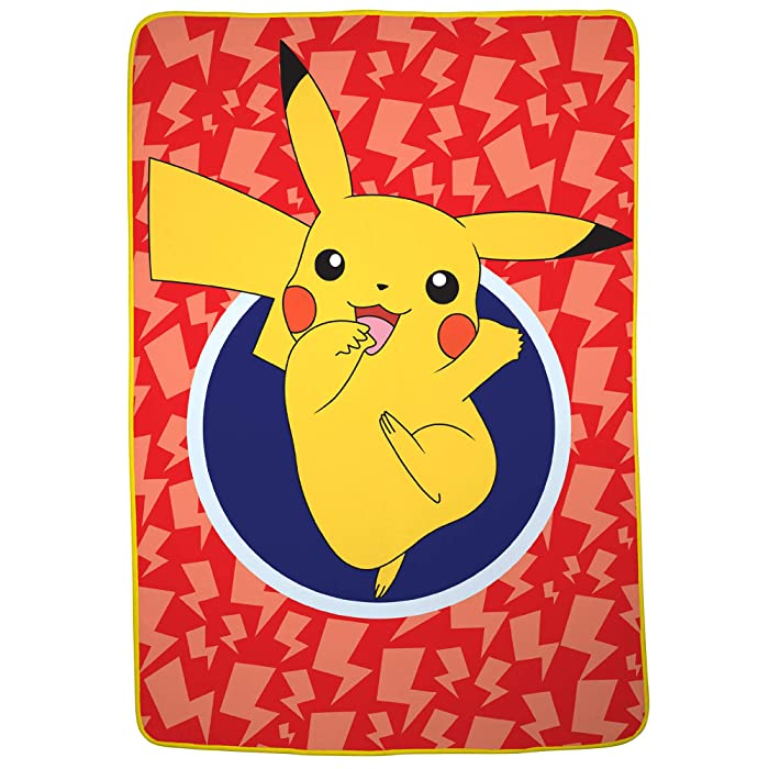 "Franco Kids Bedding Super Soft Plush Microfiber Blanket, Twin/Full Size 62"" x 90"", Pokemon Pikachu"