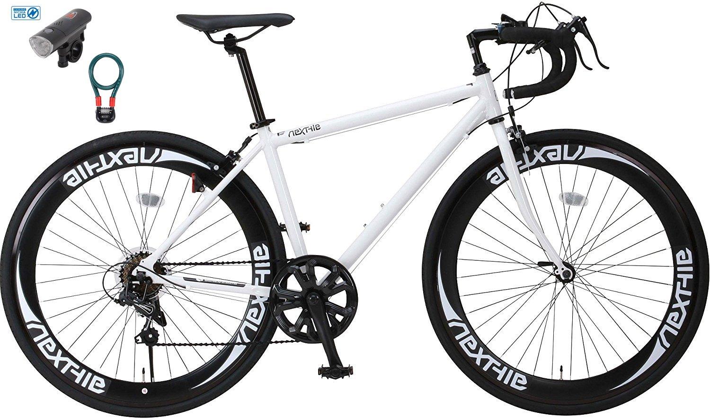 【カーブランド ローバー フロントライトカギSET】NEXTYLE(ネクスタイル) RNX-7007(ホワイト) SHIMANO(シマノ) ロードバイク ロードレーサー 男女兼用(初心者対応 身長160cm以上 サイズ440mm) 7段変速 B01MQPDXV3