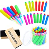 Ruisita 20 Pieces Plastic Chalk Holder Adjustable Colored Chalk Clip with Round Case and 2 Pack Chalkboard Erasers…