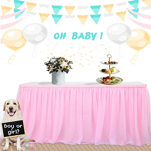 Demiawaking Tutu Tulle Table Skirt Table Cloth Cover Tableware Baby Shower Girls Boys Birthday Party Cake Table Decorations Blue