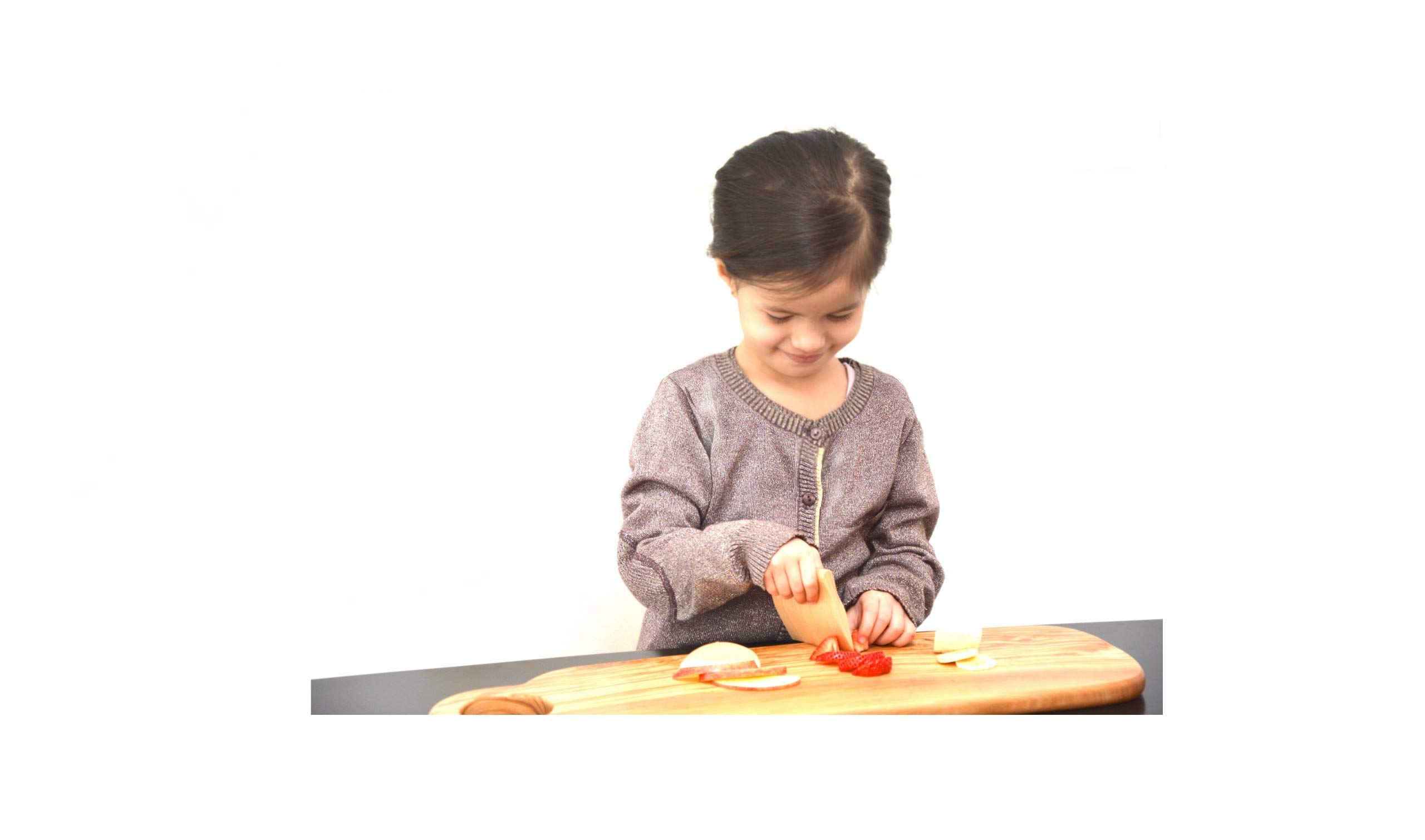 Safe Maple Wood Kids Knife - Fruit and Vegetable Cutter for Kids Cooking