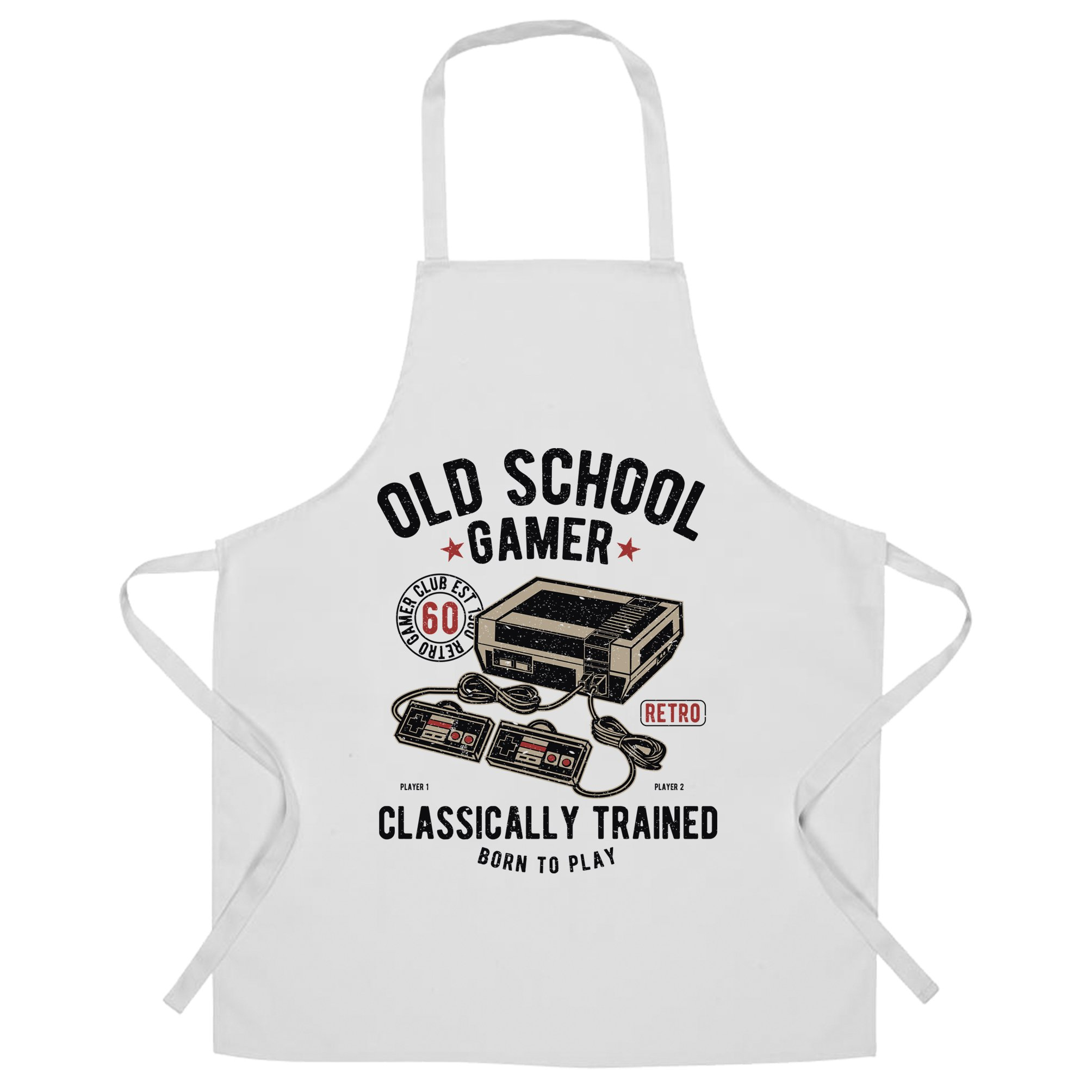 Gaming Chefs Apron Old School Gamer Retro Videogame Arcade White One Size