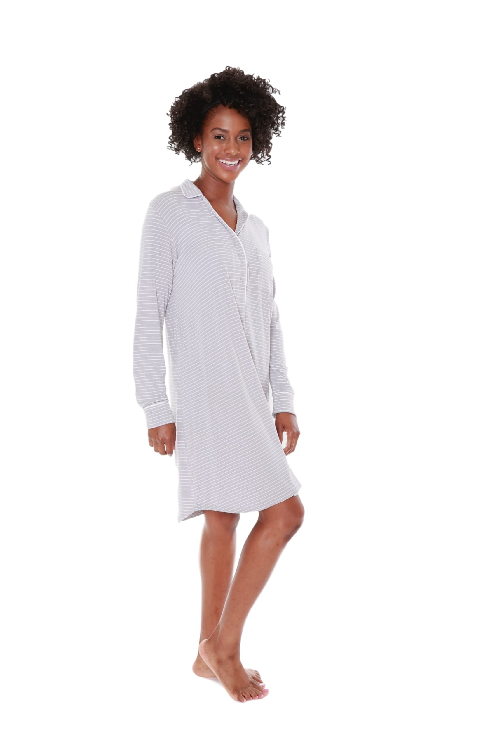 Baby Be Mine Maternity Super Soft Classic Stripe Maternity Nursing Nightshirt Nightgown Pregnancy Nightwear (L 12-14, Grey Stripe)