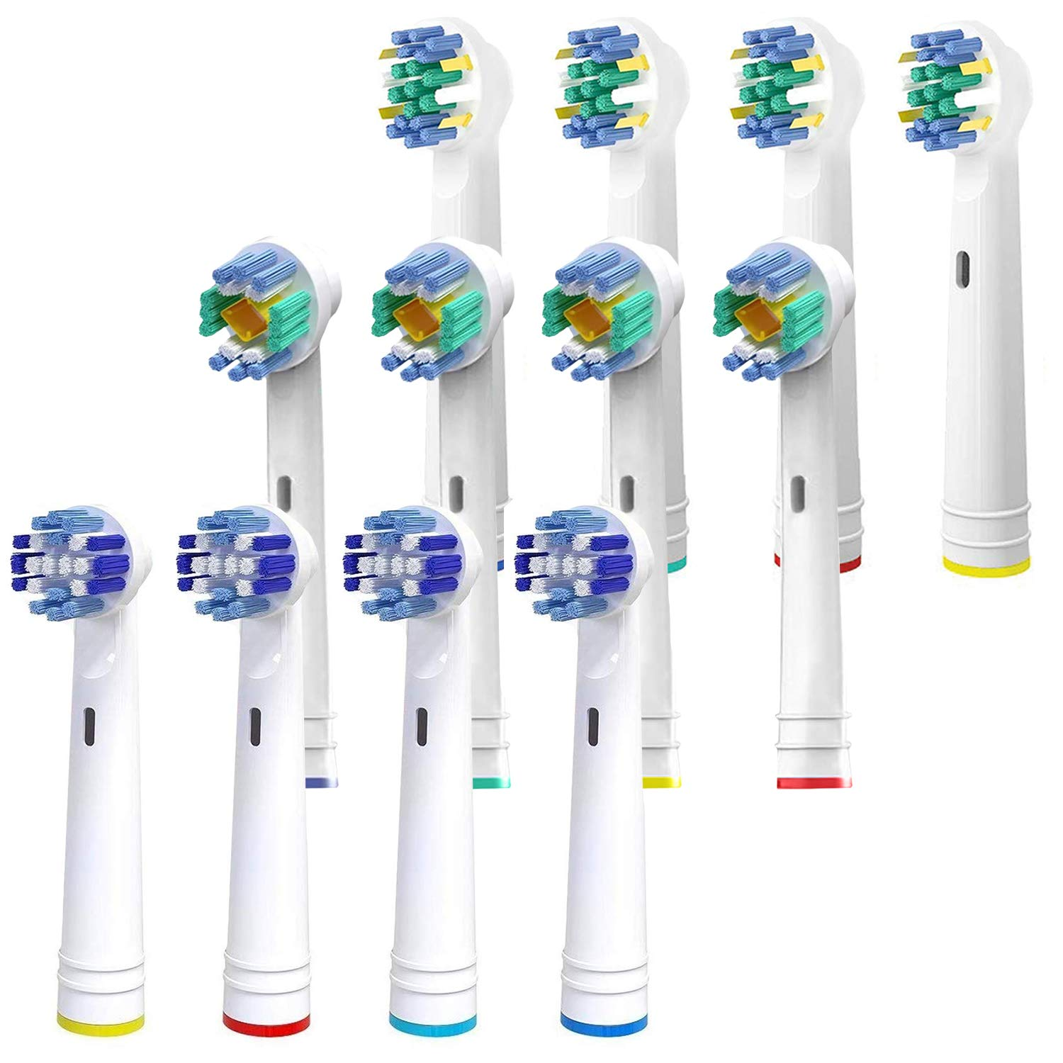 Replacement Brush Heads Compatible With Oral B Braun- 12 PACK Generic Assorted Brushes For Oralb Electric Toothbrush- 4 Precise, 4 Flossing & 4 Pro Whitening- Fits Oral-B 1000, Sonic, Clean &More