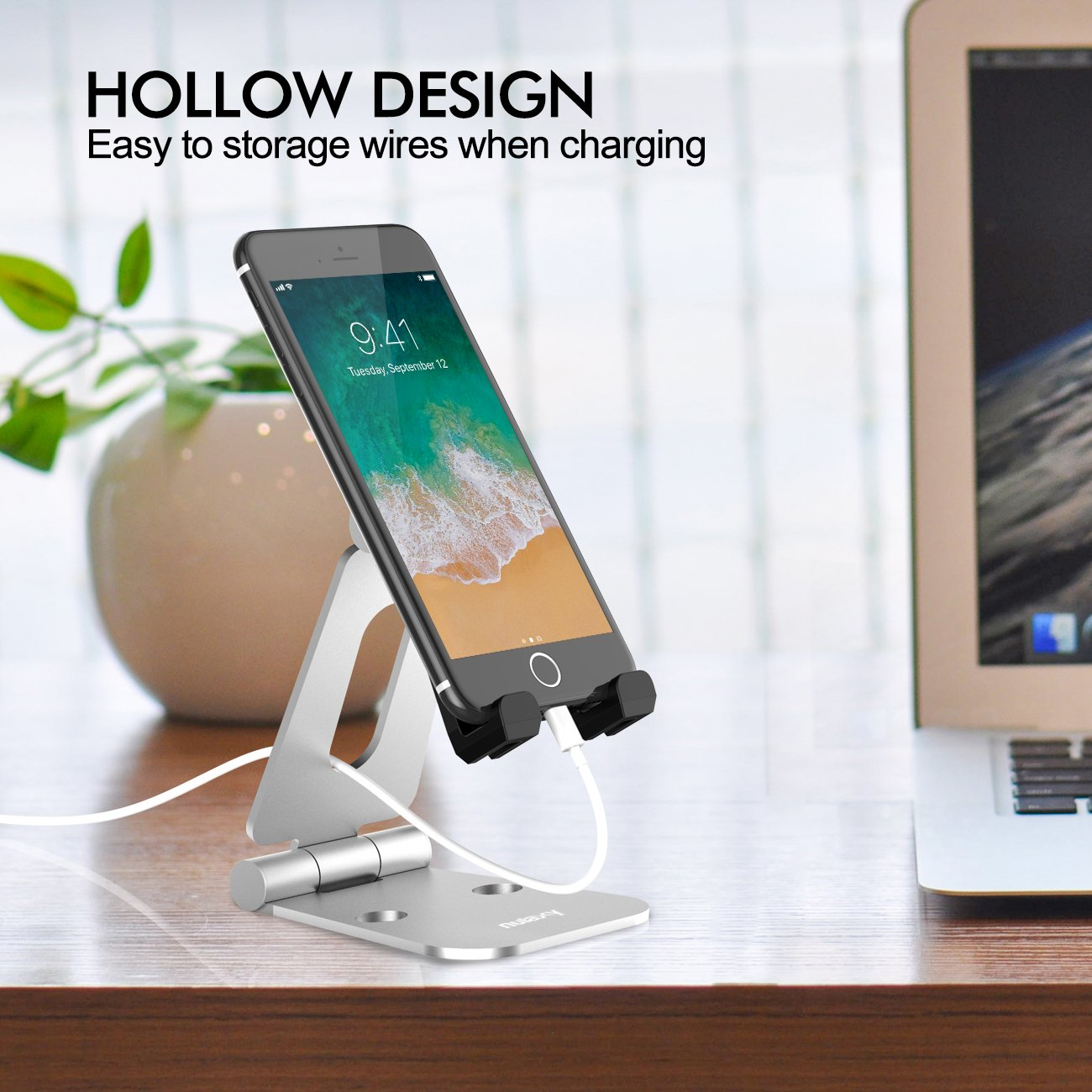 Nulaxy Dual Foldable Phone Stand, Multi-Angle Cell Phone Tablet Video Game Stand for Nintendo Switch iPhone X 8 7 6 Plus 5 5c, Accessories, iPad Universal for All Other Tablets Phones-Silver by Nulaxy (Image #5)
