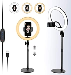 Yikola 10'' LED Ring Light with Cellphone Holder Stand for Live Stream & Makeup, 3 Light Modes 10-Level Brightness 360° Rotating USB Powered, Height Adjustable Ring Light for YouTube Instagram - Black