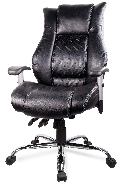 Smugdesk Executive Office Ergonomic Heavy Duty Computer Bonded Leather Adjustable Desk Chair, Swivel Comfortable Rolling, Black