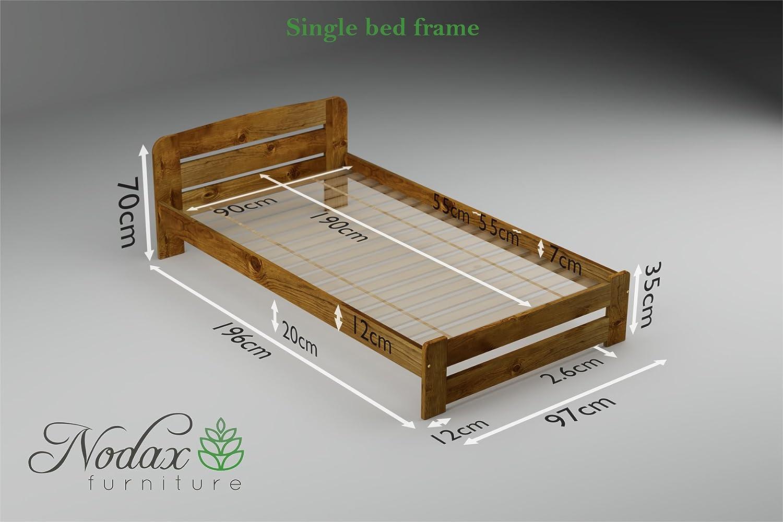 Estructura de cama (disponible en las medidas: 0,90 m, 1,20 m, 1,40 m y 1,50 m) colores roble, nogal, aliso y pino, pino, ALDER, 90 x 190 cm: Amazon.es: ...