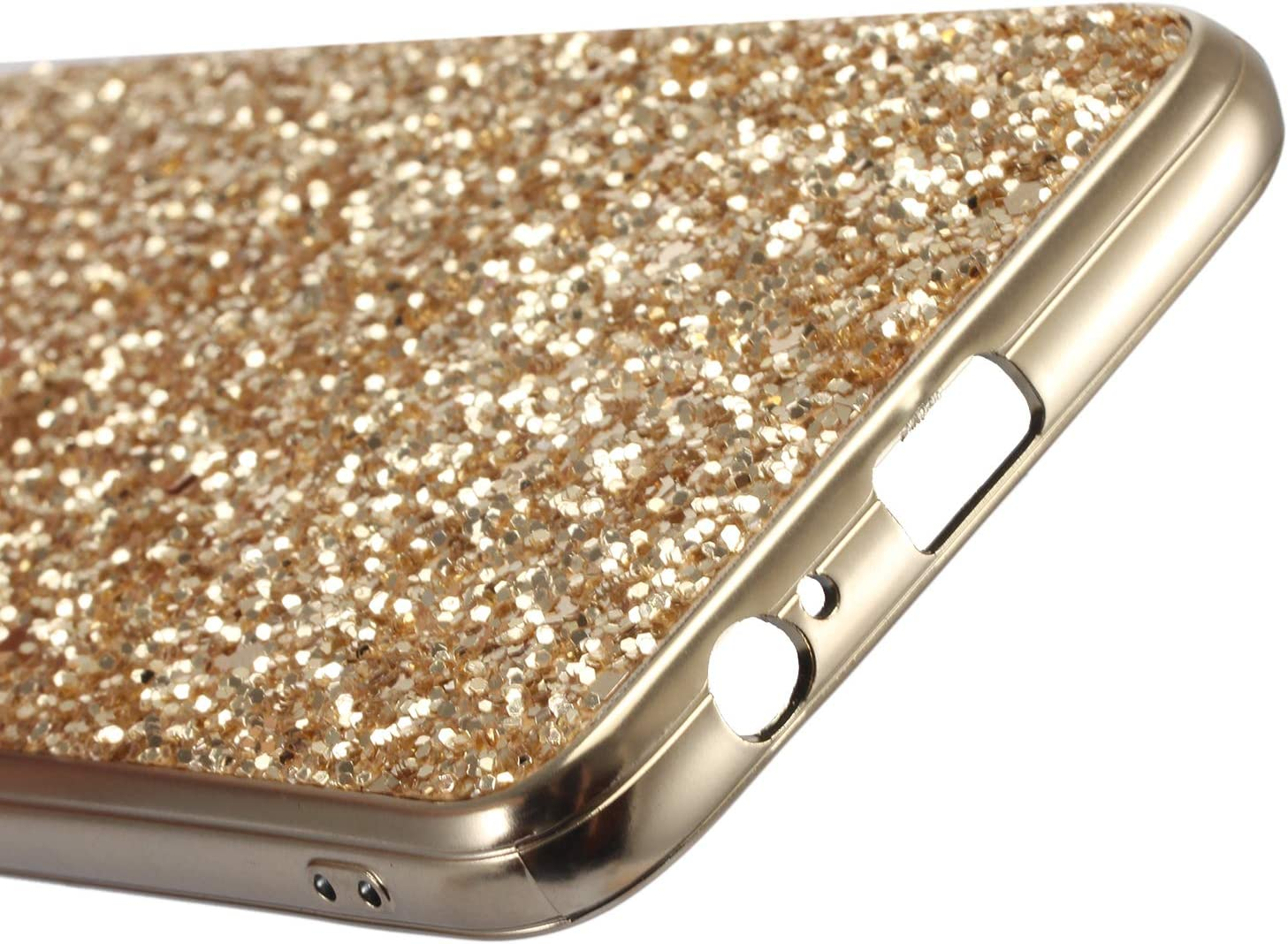 WIWJ Handyh/ülle Kompatibel f/ür Samsung Galaxy J8 2018 Glitzer Gold,Bling Sparkles Glitter Cover TPU Silikon Bumper Case Handy Schutzh/ülle f/ür Samsung Galaxy J8 2018 R/ückseite