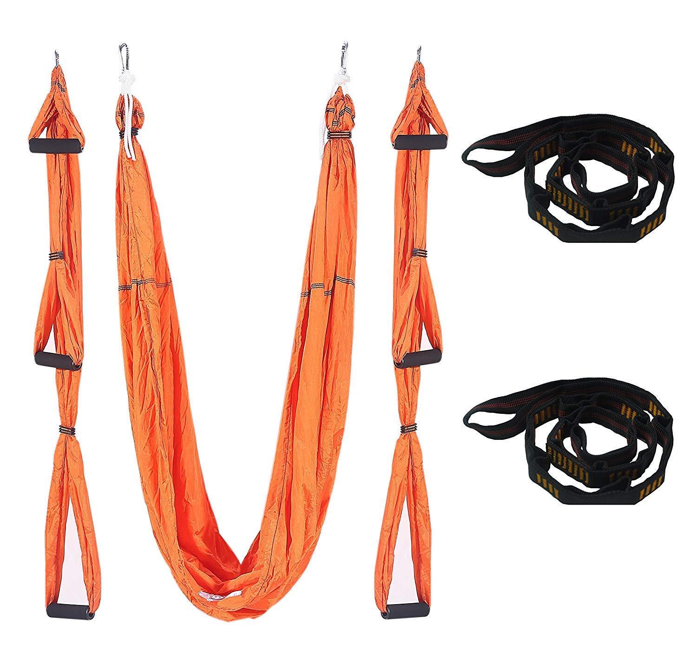 Orange QETU Hamac de Yoga Aérien, Hamac de Yoga Anti-Gravité Pilates pour Ceintures de Yoga D'inversion de Fitness, avec Fixation Au Plafond Et Sangles D'extension