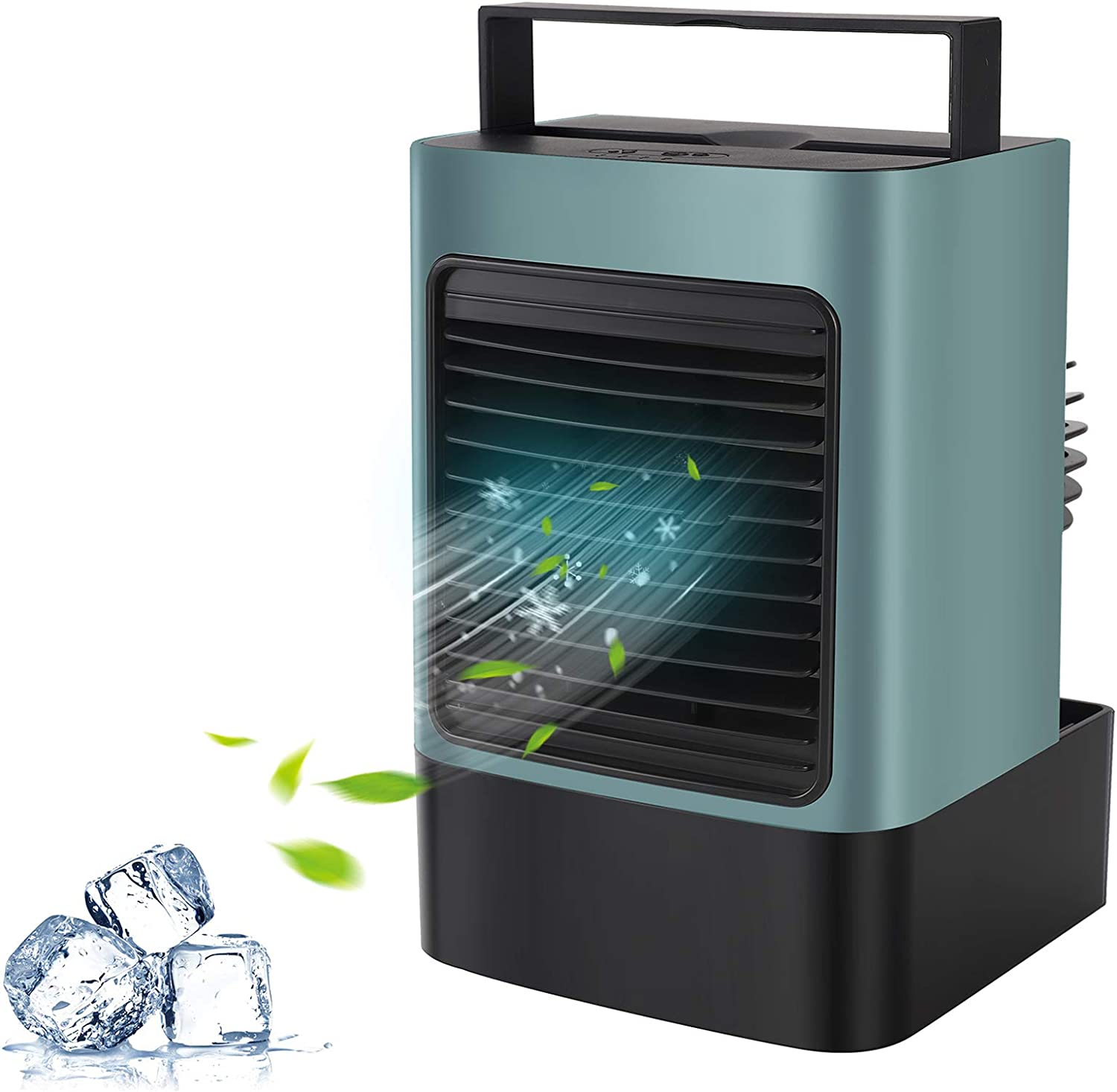 MOVTIP Portable Air Conditioner Fan, Personal Space Air Cooler Mini Evaporative Cooler Quiet Desk Fan, Air Circulator Humidifier Misting Fan for Home Office Bedroom (Green)