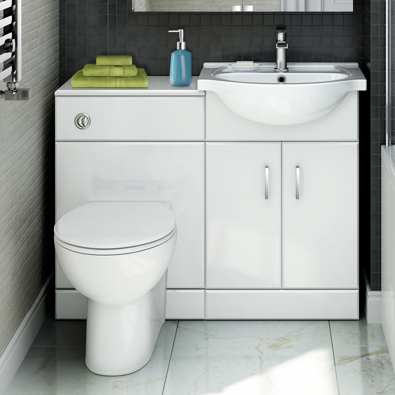 Quartz - 1048 mm White Gloss Vanity Unit Round Toilet Bathroom Sink ...