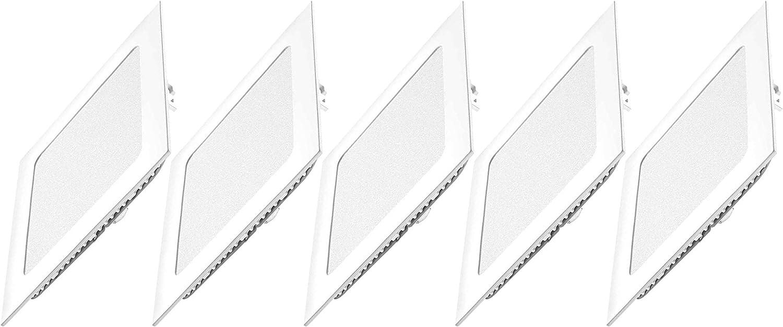 Dya Lot de 5/panneaux /à LED avec rabats /à ressort blanc froid 6000/K spot encastrable carr/és