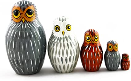 Nesting dolls forest owl wood toy Russian matryoshka owls for kids Signed