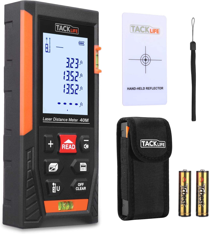 Telemetro Laser Distanziometro Classico, Tacklife HD40 in M/In/Ft con 2 Bolle d'aria e Funzione Muto, 4 Modalit� di Pitagora Misuratore Precisa di Distanza, Superficie, Volume e Misura Continua