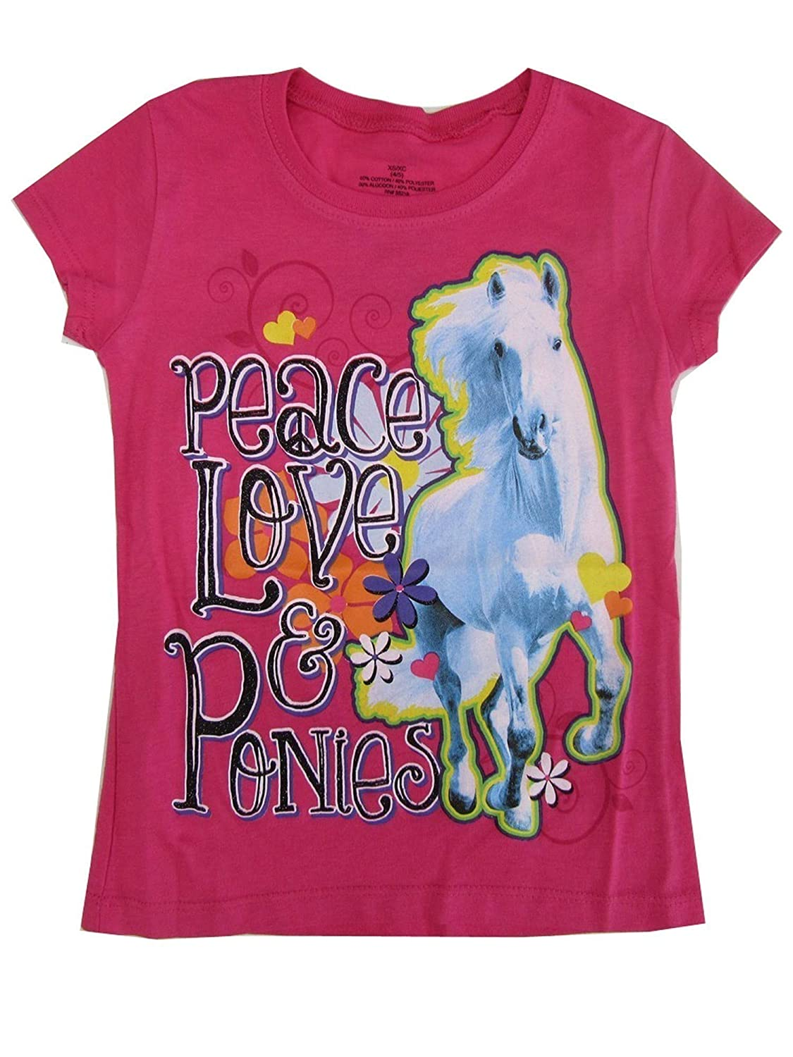 Big Girls Pink Peace Love /& Ponies Print Short Sleeved T-Shirt 7-16