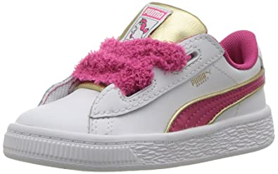 8ac74f4ad06c PUMA Baby Minions Basket Heart Fluffy INF Sneaker White-Beetroot Purple  Team Gold