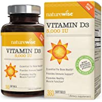 NatureWise Vitamin D3 5,000 IU for Healthy Muscle Function, Bone Health and Immune Support, Non-GMO in Cold-Pressed Organic Olive Oil,Gluten-Free, 1-year supply, 360 count