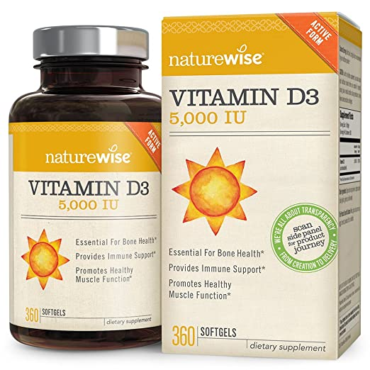 Magnus NatureWise Vitamin D3 5000 IU for Healthy Muscle Function, Bone Health & Immune Support