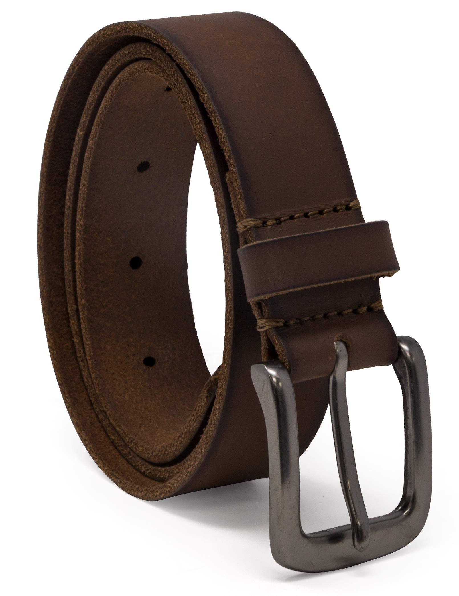 Timberland Boys' Big Leather Belt for Kids, brown/classic, Medium