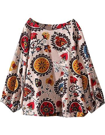 Luckycat Mujeres Casual Tallas Grandes Bohemia Camiseta de Manga Larga Elegante Cuello V T-Shirt
