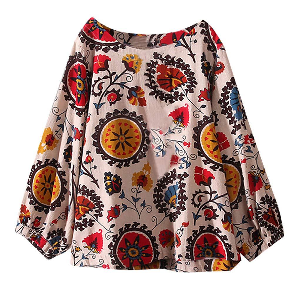 JURTEE Damen Bluse, Große Größen Baumwolle Tops T-Shirt Vintage Boho Floral Lose Oberteile Sommer Bluse