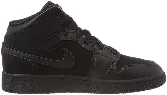 Amazon.com | Jordan Nike Boys Air 1 Mid Basketball Shoe (GS) Black/Dark Grey 6Y | Basketball