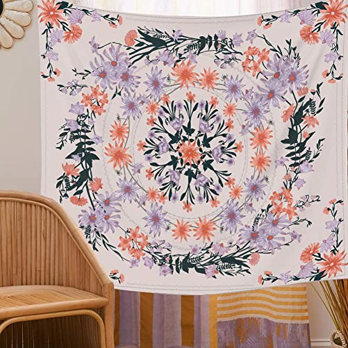 Floral Mandala Tapestry Wall Hanging – Pink Flower Wall Tapestry Sketched Plant Bohemian Wall Decor for Girls Dorm Room Decoration