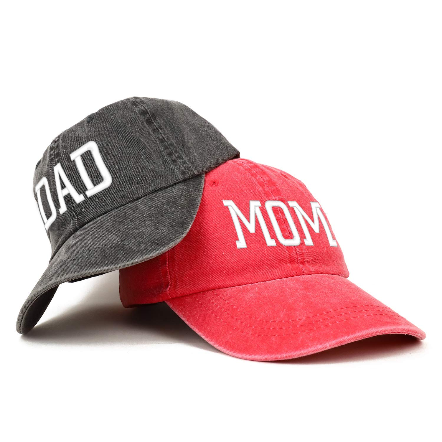 Trendy Apparel Shop Capital Mom and Dad Pigment Dyed Couple 2 Pc Cap Set - RED - Black