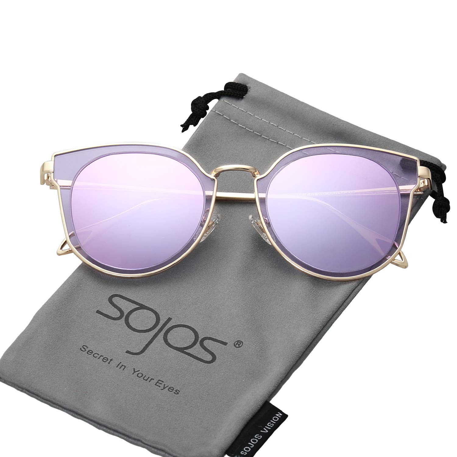 9fd1e2586876 Amazon.com  SOJOS Fashion Polarized Sunglasses for Women UV400 Mirrored  Lens SJ1057 with Gold Frame Purple Mirrored Lens  Clothing