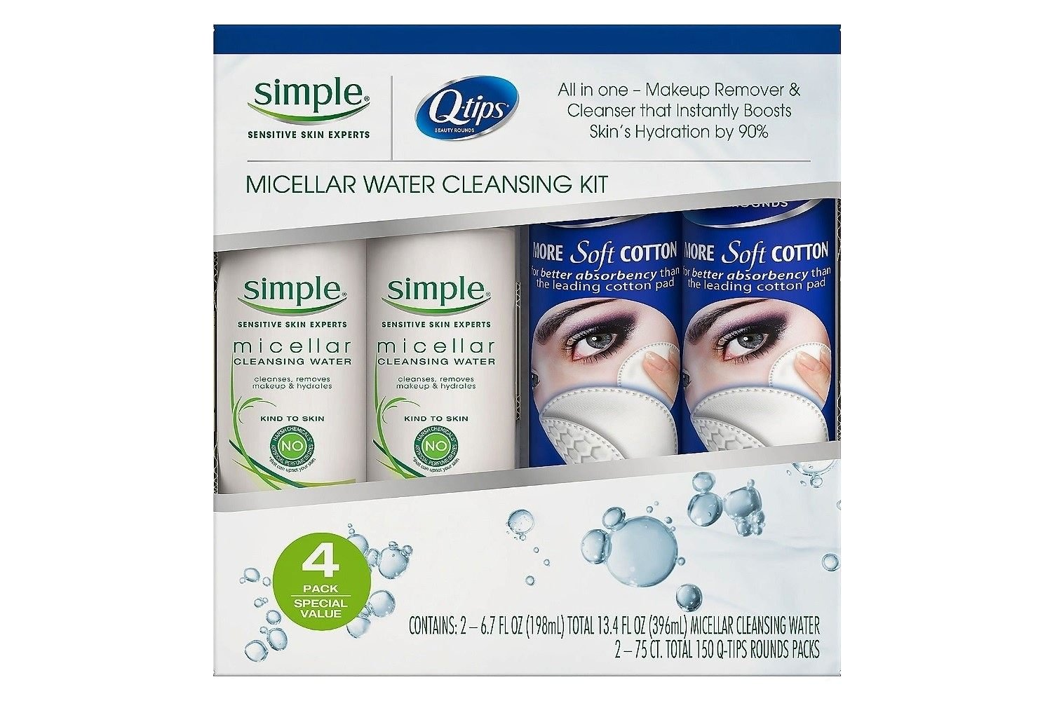 2,Simple Micellar Cleansing Water Makeup Remover 6.7 Fl Oz And 2,75 Q-tips Rounds