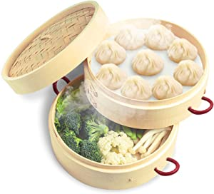 Amberfor 2 Tiers 10″ Bamboo Steamer with 2 Anti-Hot Handle and Lid for Japanese & Chinese Cuisine, Handmade Natural Kitchen Food Pot Basket Cookware - Healthy Cooking for Dumplings, Vegetable, Meat