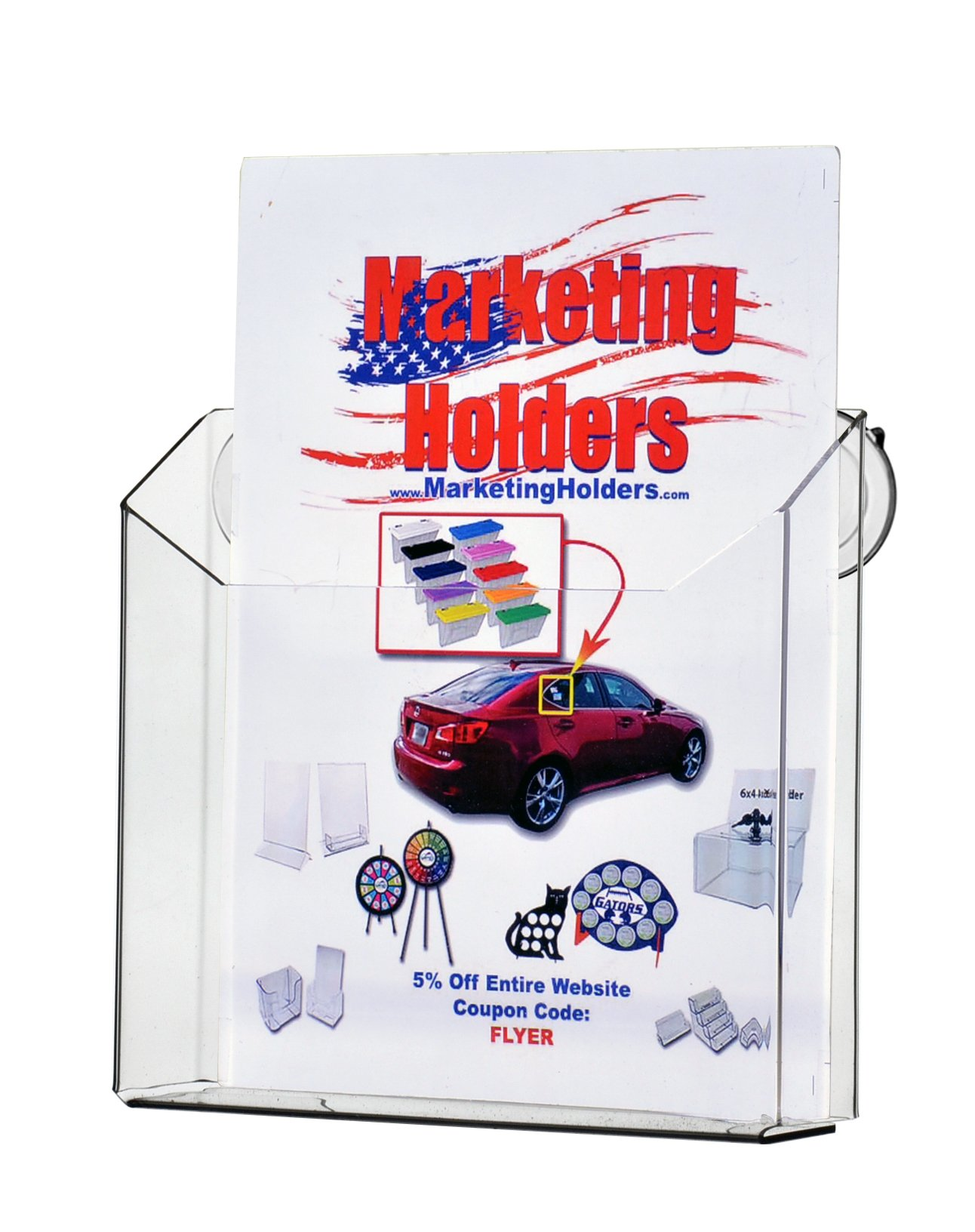 Marketing Holders - 8.5'' x 11'' Wall Mount Literature Holder Magazine Display with Suction Cups