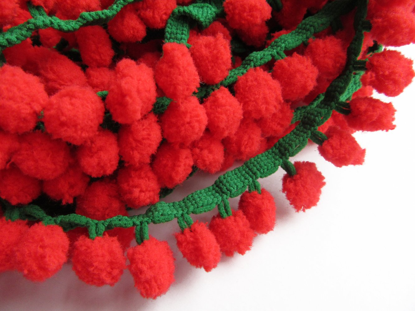 YYCRAFT Red//Green Pom Pom Ball fringe Trim Ribbon Sewing Xmas 5 Yards