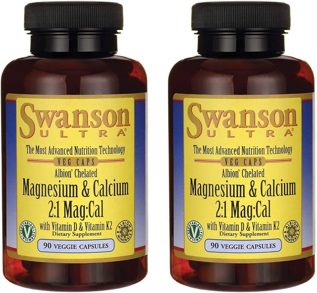 Swanson Albion Chelated Magnesium & Calcium 2:1 90 Veg Capsules (2 Pack)