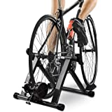HEALTH LINE PRODUCT Bike Trainer Stand, Indoor Magnetic Bicycle Exercise Trainer Quiet Noise Reduction Stationary Bike Stand w Wider 8 Levels Resistance/Quick Release and Front Wheel Block