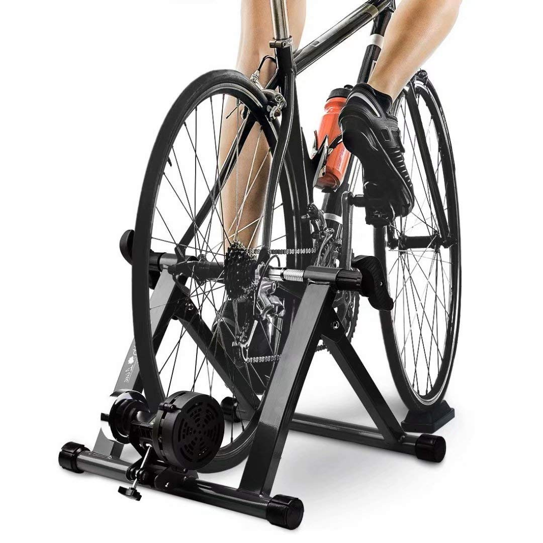 HEALTH LINE PRODUCT Bike Trainer Stand, Indoor Magnetic Bicycle Exercise Trainer Quiet Noise Reduction Stationary Bike Stand w Wider 8 Levels Resistance Quick Release and Front Wheel Block