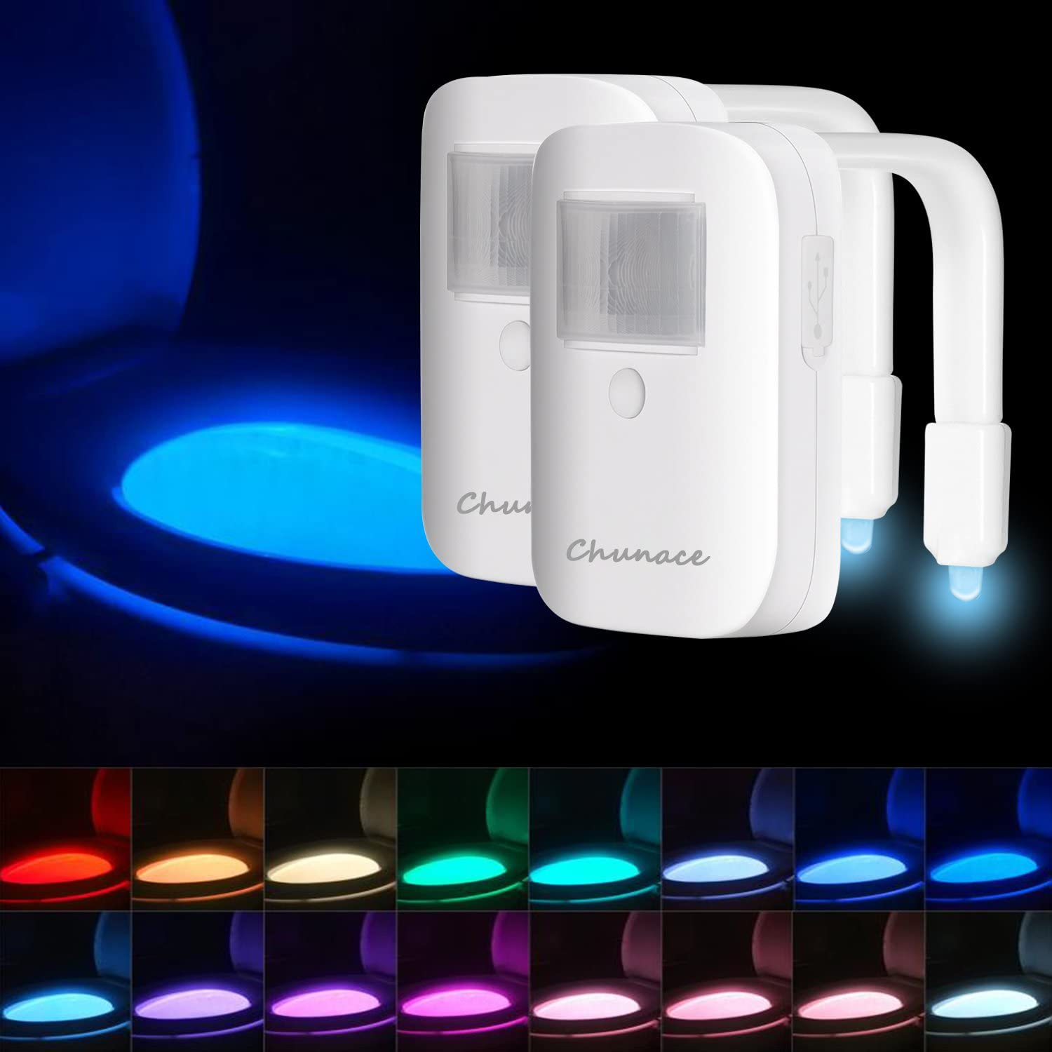 Rechargeable Toilet Bowl Night Lights,16 Colors Motion Detection Cool Fun Nightlights, Funny & Unique Birthday Gift Idea for Dad, Mom, Men, Women & Kids, Best Gag Gadgets 2 Pack