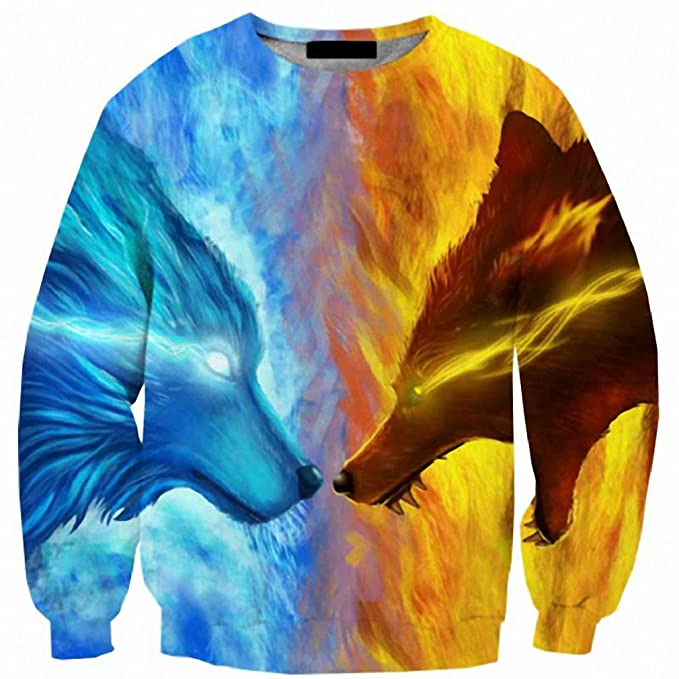 1f6443468273 Amazon.com  Cloudstyle NEW 3D Sweartshirts Men Wolf Fire And Ice 3D ...