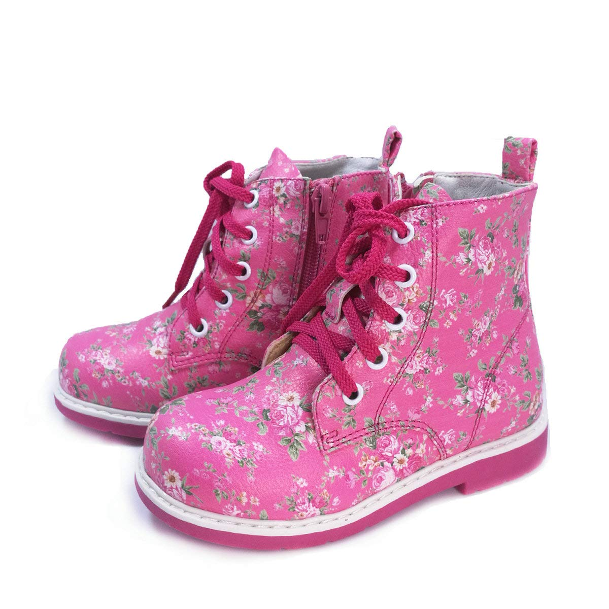 Ortoluckland Little Girls Cute High-Top Corrective Orthopedic PU Leather Boot