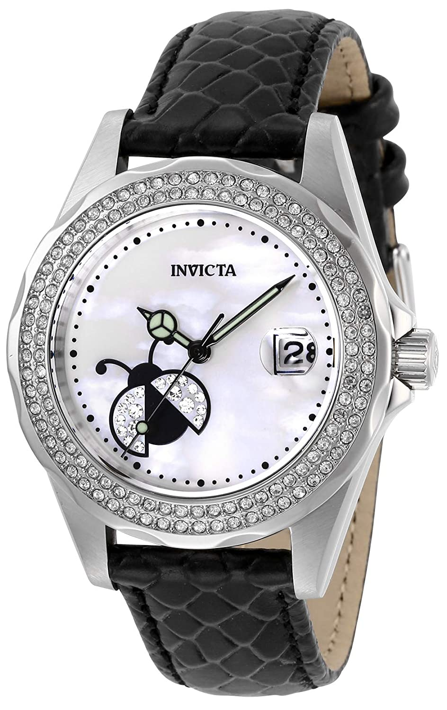 Invicta Women s Angel Stainless Steel Quartz Watch with Leather-Calfskin Strap, Black, 18 Model 29026