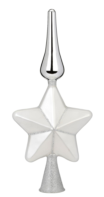 Inge-glas Puntale per albero in vetro a forma di stella argento 29cm Inge Glas