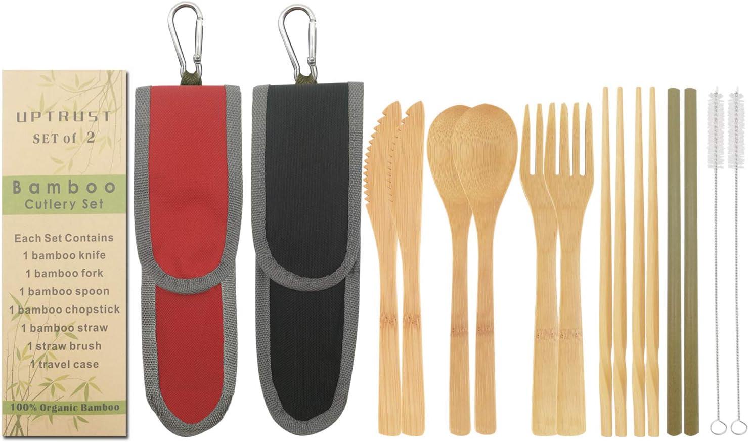 UPTRUST 2 Set Bamboo Cutlery Set Bamboo Travel Utensil Reusable Organic Bamboo Utensil Fork Knife Spoon Chopsticks Straw Cleaning Brush for Travel Picnic School Office(Black & Red)
