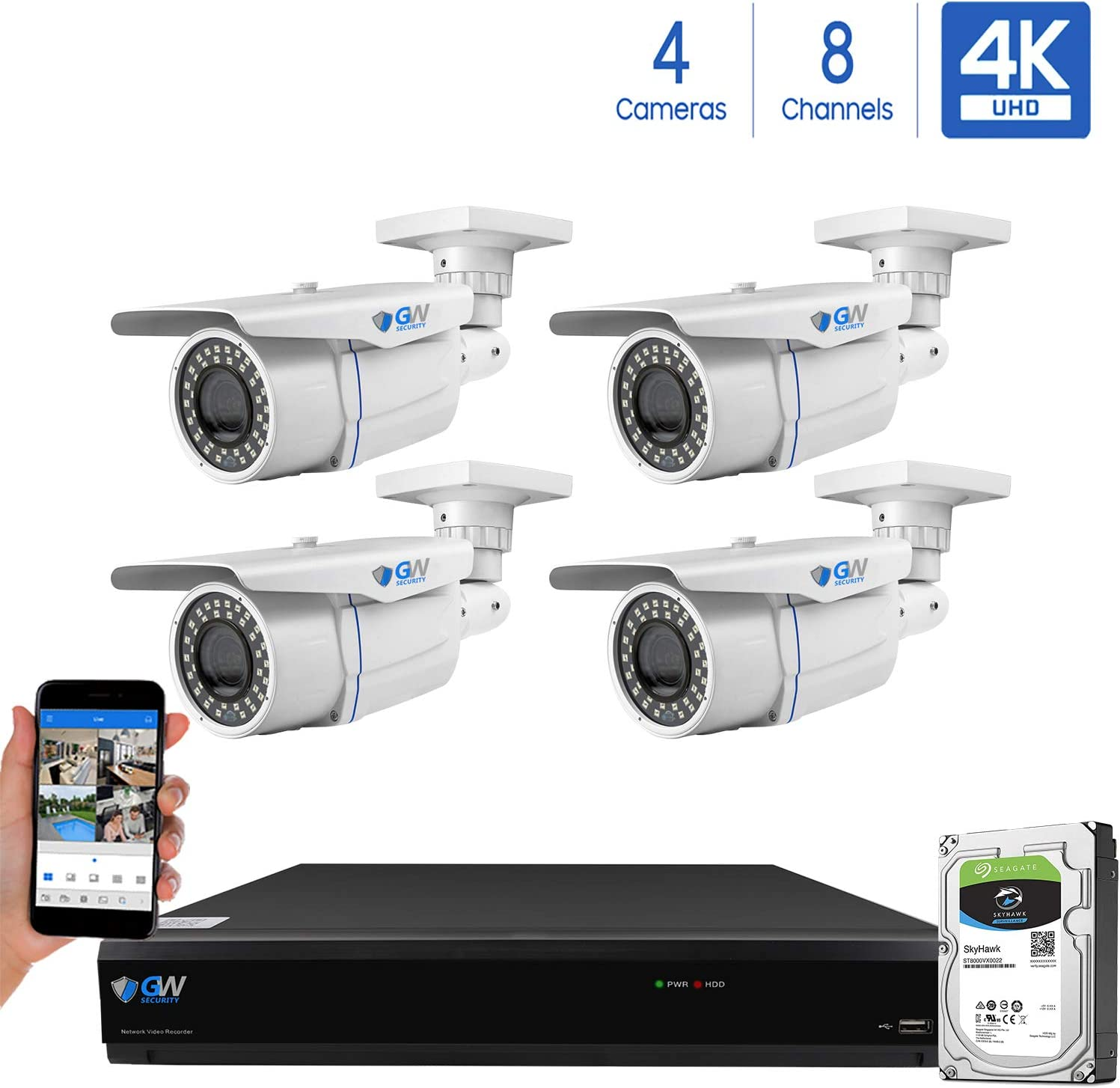 GW 8-Channel 4K H.265 Complete CCTV Security System with 4 x HD 8MP 2160P Outdoor Indoor 2.8-12mm Varifocal Zoom 4K Bullet Security Cameras and 2TB HDD, QR Code Scan Free Remote View